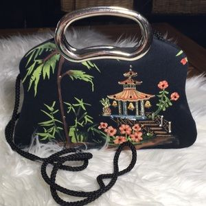 Vintage Oriental Sequined Little Black Purse